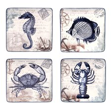 Coastal Postcards Dessert Plates (Set of 4)