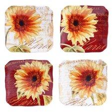 """Paris Sunflower 6"""" Canape Plate 4 Piece Set"""