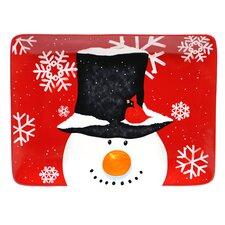 Top Hat Snowman Rectangular Platter