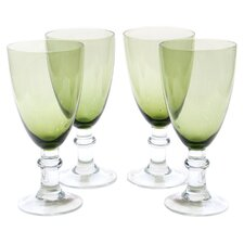 Glass Stemware Olive Green All Purpose Goblets (Set of 4)