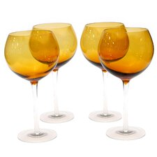 Glass Stemware Dark Amber Red Wine Glasses (Set of 4)
