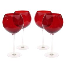Glass Stemware Ruby Red Wine Glasses (Set of 4)
