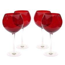 Glass Stemware Ruby Red Wine Glasses (Set of 4)