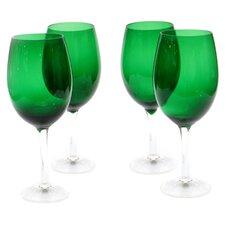 Glass Stemware Green White Wine Glasses (Set of 4)