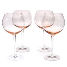 Glass Stemware Pink Red Wine Glasses (Set of 4)