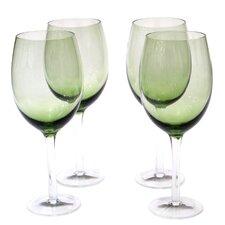 Glass Stemware Olive Green White Wine Glasses (Set of 4)