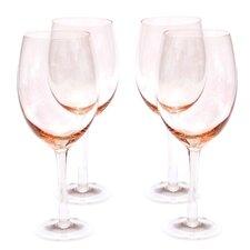 Glass Stemware Pink White Wine Glasses (Set of 4)