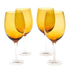 Glass Stemware Dark Amber White Wine Glasses (Set of 4)