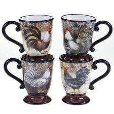 Vintage Rooster 4 Piece Mug Set