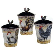 Vintage Rooster 3 Piece Canister Set