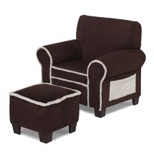 Club Chair and Ottoman in Ivory / Chocolate