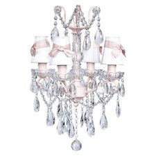 Crystal Glass Center 4 Light Chandelier with Plain Shade / Sash