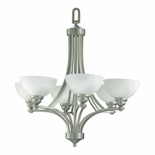 Hemisphere 6 Light Chandelier in Satin Nickel