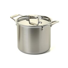 d5 Brushed Stainless Steel 7 Qt. Tall Stock Pot with Lid