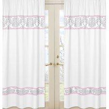 Pink and Gray Elizabeth Cotton Rod Pocket Curtain Panels (Set of 2)
