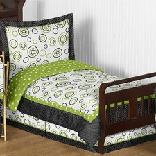 Lime and Black Spirodot 5 Piece Toddler Bedding Set