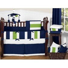 Navy Blue and Lime Green Stripe 9 Piece Crib Bedding Set