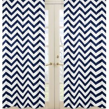 Navy Blue and White Chevron Curtain (Set of 2)