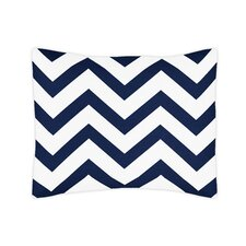 Navy Blue and White Chevron Standard Pillow Sham