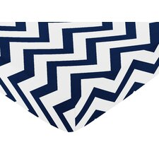Navy and White Chevron Fitted Crib Sheet
