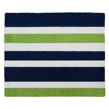 Navy Blue and Lime Green Stripe Area Rug