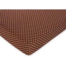 Pink and Brown Dots Fitted Crib Sheet