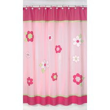 Flower Pink and Green Cotton Shower Curtain