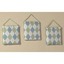 3 Piece Argyle Green Blue Hanging Art Set