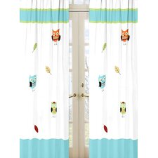 Hooty Turquoise and Lime Cotton Curtain Panels (Set of 2)