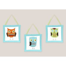 3 Piece Hooty Turquoise and Lime Wall Hanging Set
