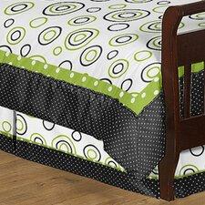 Lime and Black Spirodot Toddler Bed Skirt