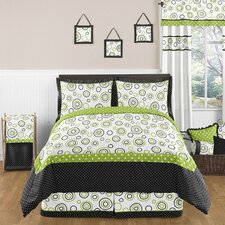 Lime and Black Spirodot Bedding Collection