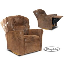 Contemporary Distressed Brown Leather Like Rocker Kids' Recliner