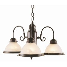Back To Basics 3 Light Builder Chandelier with Marbleized Glass Shades