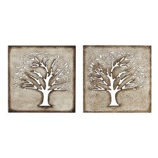 2 Piece Crafted Tree Wall Décor Set