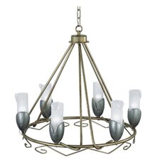 Torino Six Light Pendant in Weathered Champagne