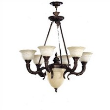 Santos Seven Light Traditional Chandelier in Iron