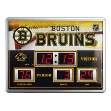 NHL Scoreboard Wall Clock with Thermometer