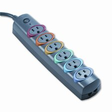 Kensington Smartsockets Color-Coded Strip Surge Protector, 6 Outlets, 6Ft Crd
