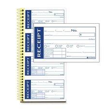 "Write N' Stick Receipt Book, 2-Part, 5-1/4""x11"""