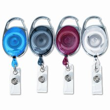 """Carabiner-Style Retractable Id Card Reel, 30"""" Extension, 20/Pack"""