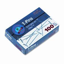 """Gem T-Pins, Steel, 2"""", 100/Box (Set of 2)"""