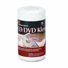 CD/DVD Kleen Cleaner Wet Wipes, 5-1/4 x 5-3/4, 75/Tub