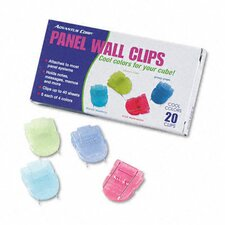 Fabric Panel Wall Clips, Standard Size, Assorted Colors, 20 per Pack
