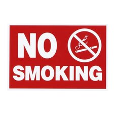 Economy No Smoking Wall Sign, Plastic, 12 x 8, Red (Set of 4)