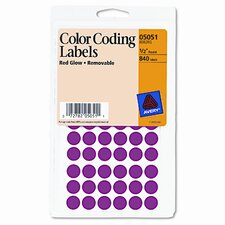 Self-Adhesive Removable Labels, 1/2in dia, Red Neon, 840/Pack