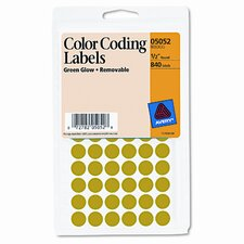 Self-Adhesive Removable Labels, 1/2in dia, Green Neon, 840/Pack