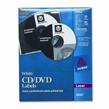 5692 Laser CD/DVD Labels, Matte White, 40/Pack