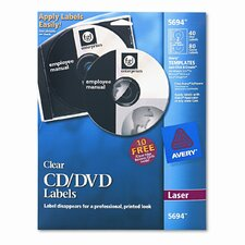 Laser CD/DVD Labels, Glossy Clear, 40/Pack