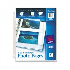 Photo Pages for Four 4 X 6 Horizontal Photos, 3-Hole Punched (10/Pack) (Set of 3)